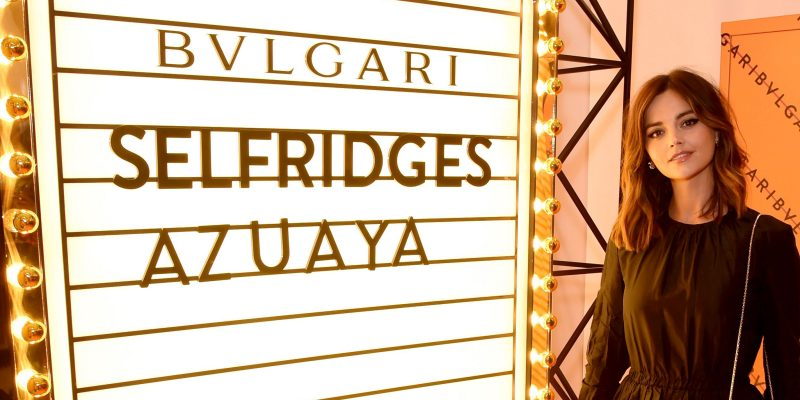 Jenna Coleman attends the Bvlgari Takes Over The Selfridges London Corner Shop